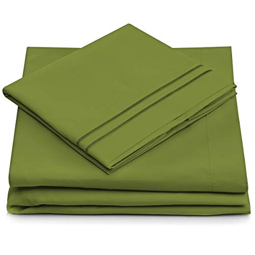 - Queen Size Bed Sheets - Olive Green Luxury Sheet Set - Deep Pocket - Super Soft Hotel Bedding - Cool & Wrinkle Free - 1 Fitted, 1 Flat, 2 Pillow Cases - Dark Green Queen Sheets - 4 Piece