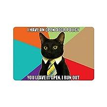 """23.6""""(L) x 15.7""""(W) Funny Black Cat,I Have An Open Door Policy,You Leave It Open,I Run Out Doormat,Indoor/Outdoor Floor Mat"""