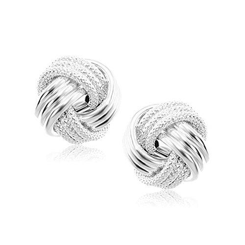 MCS Jewelry 14 Karat Rose, White OR Yellow Gold Love Knot Earrings (9 mm Diameter) ()