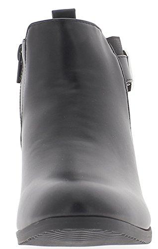 ChaussMoi Nero tacco basso 3cm aspetto liscio e rugoso cuoio stivali