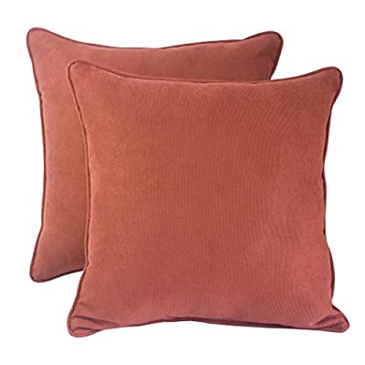 Downluxe Indoor/Outdoor Decorative Square Toss Pillows, 2-Pack - 100% Spun Polyester; Fill: 100% Polyester Fiber Includes two (2) outdoor wicker seat cushions,Water repellent, stain resistant; Suitable for indoor and outdoor use Edges of outdoor seat cushions are trimmed with matching fabric and cord to sit perfectly on your outdoor patio furniture - patio, outdoor-throw-pillows, outdoor-decor - 413i06ioFVL. SS400  -