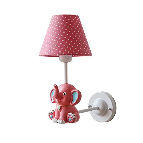 KMYX Pink Princess Lámpara de Pared Resina Linda Elefante Aplique de Pared Decorado Sala de Estar Dormitorio Pasillo Acción...