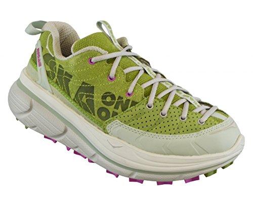 HOKA Tor niedrig geschnittene Trail-Laufschuhe aus Leder Damen, Grün/Rosa, 36