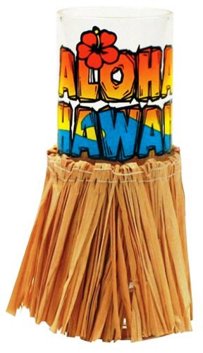 Hawaiian Shot Glass Aloha With Hula Skirt ()