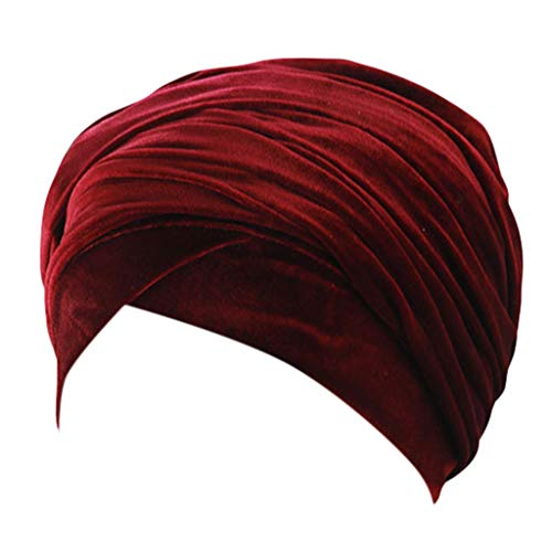 Dressin Velvet Turban Hat Fashion Women's Hair Loss Beanies Wraps Scarf Chemo Cap Solid Headscarf Hats Wine