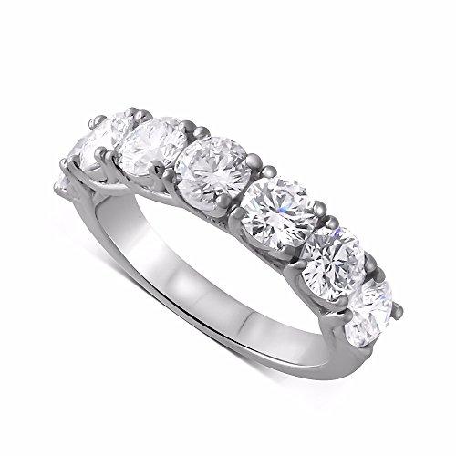 14k Shared Prong - 14K White Gold Shared Prong Forever One Moissanite Wedding Ring 4.5mm