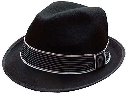 Subtle Addition Short Brim Wool Felt Fedora Hats for Boys, Black with Striped Band, Adjustable, Child Hat Band Wool Felt Hat