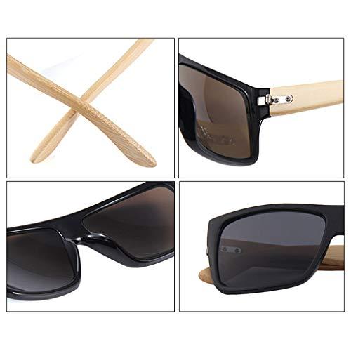 de protección Cuadrado Las Marron polarizadas bambú conducción Lentes del de Gafas Color Oscuro con Ultravioleta bambú de Brown la de sol Retros del Gafas vidrios Brazo Color aw7Y78