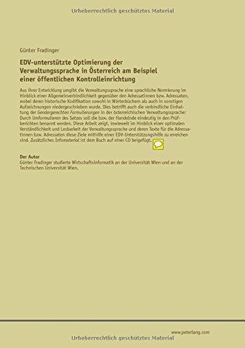 EDV-unterstützte Optimierung der Verwaltungssprache in Österreich am Beispiel einer einer öffentlichen Kontrolleinrichtung (German Edition) by Peter Lang GmbH, Internationaler Verlag der Wissenschaften