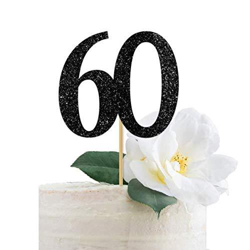 B01MRDXNIK Black Glitter 60 Cake Topper, 60th Anniversary, Sixtieth Birthday, Sixty 413i1apjqRL