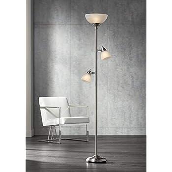 Ellery Modern Torchiere Floor Lamp 3-Light Brushed Steel