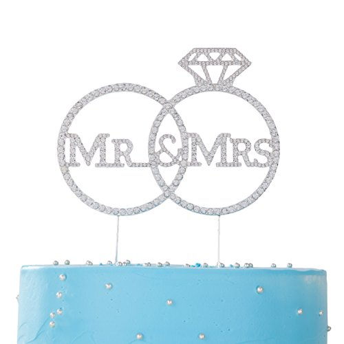 LOVENJOY with Gift Box Crystal Rhinestone Mr Mrs Diamond Ring Wedding Engagement Cake Toppers Silver (5.8-inch)