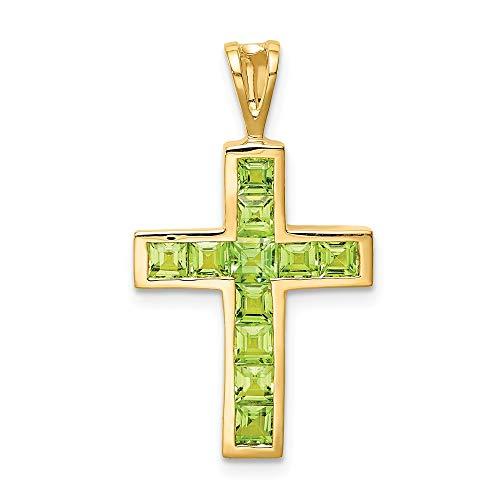 Mia Diamonds 14k Yellow Gold Yellow Gold Peridot Cross Pendant