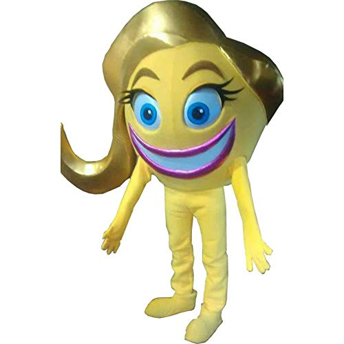 Crazy Happy Emoji Movie Smiler Yellow Mascot Costume Party Character Halloween Cosplay