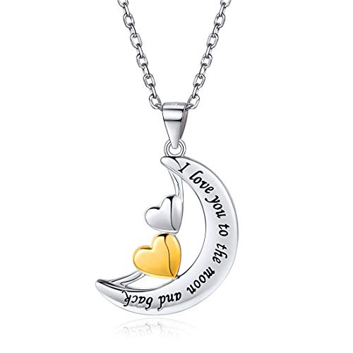 (925 Sterling Silver I Love You to The Moon and Back Moon Double Love Heart Pendant Necklace, 18