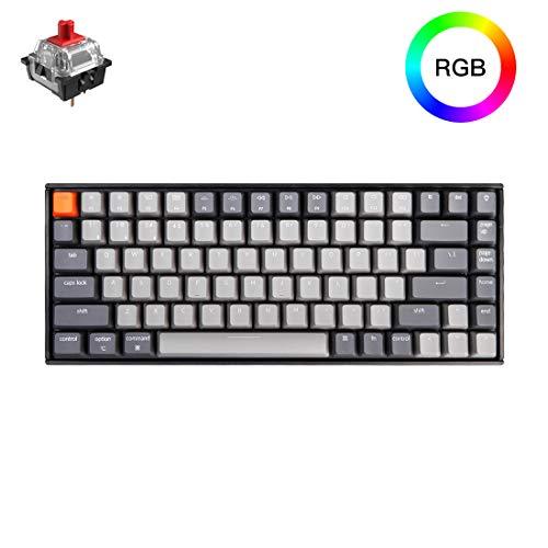 Keychron K2 Bluetooth Mechanical Keyboard with Gateron Red Switch/RGB LED Backlit/USB C/Anti Ghosting/N-Key Rollover/Compact Design, 84 Key WirelessKeyboard for Mac Windows