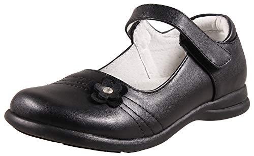LIYZU Girls Mary Jane Shoes Black Drees School Uniform Flats (Toddler/Little Kid) Size 10 Black ()