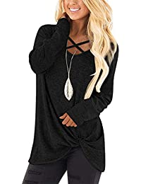 Womens V Neck Long Sleeves Casual Soft Sweaters Pullover Tops