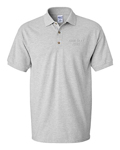 Personalize Your Custom Text On Unisex Adult Button-End Spread Short Sleeve Cotton Polo Shirt Golf Shirt - Oxford Grey, Medium