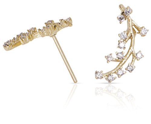 Ear Climbers Crawlers Earrings CZ Diamonds: Delicate Modern Jewelry, Dainty Crystal Ear Climbers, Ear Cuffs (14k Gold) by Benevolence (Cuff Gold Earrings)