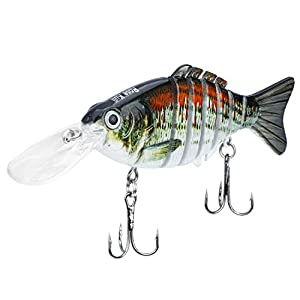 ROSE KULI Topwater Bass Fishing Lures Multi Jointed Life-Like Swimbait Hard Fishing Lure Freshwater Baits