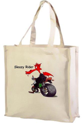Sleazy Rider-Borsa per la spesa, in cotone, colore: Panna