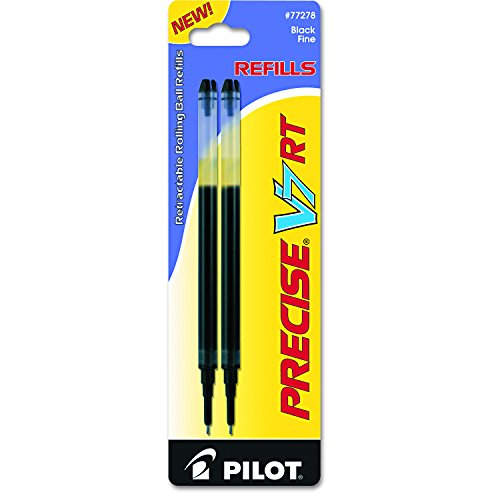 Pilot 77278 Refill for Precise V7 RT Rolling Ball Fine Black Ink (Pack of 2) Ink Refills for Pilot V5 or V7 RT Pens to Extend the Life of your Pen, Smooth Writing with Liquid Ink
