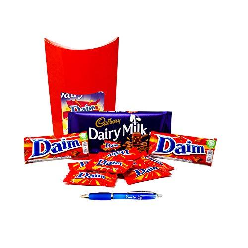 (Cadbury Daim Chocolates Treat box with Daim Bars, Dairy Milk Daim Bar and Miniature Daims )