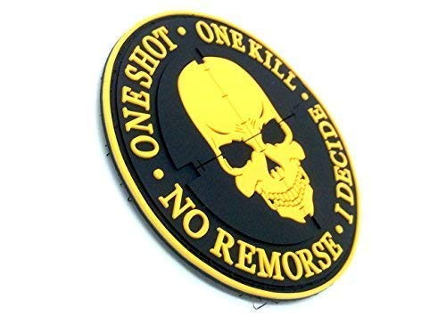 One Shot One Kill No Remorse I Decide Sniper Naranja Patch PVC Airsoft