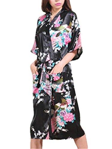 Floreale Casual Notte BESTHOO Kimono Allacciatura Elegante Donna Abito Notte da da Vestito Forti da Notte Nero Taglie Notte Sleepwear Femminili Stampa da Camicia FwTqZF1r
