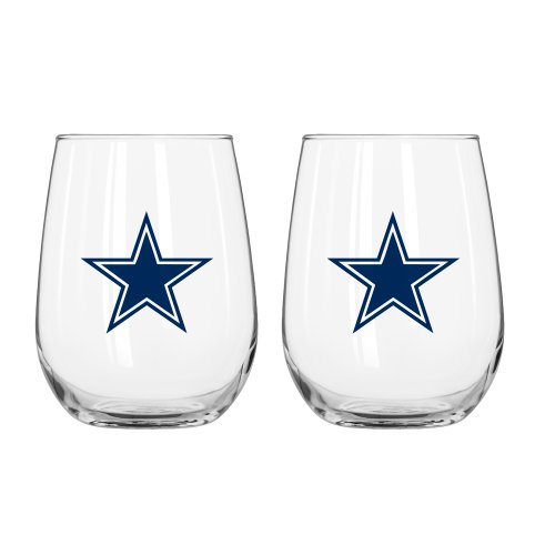 NFL Dallas Cowboys Curved Beverage Glass, 16-ounce, - Cowboys Beverage
