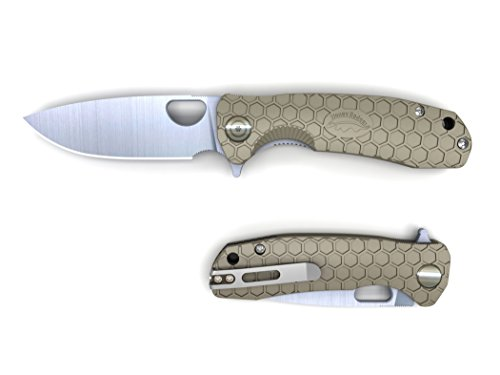 Western Active Honey Badger Pocket Knife Flipper Folding Lock Knife Ball Bearing 8cr13MOV Steel Deep Pocket Carry Clip Gift Box with Torx Wrench (Tan, Large 3.98oz - 4.6