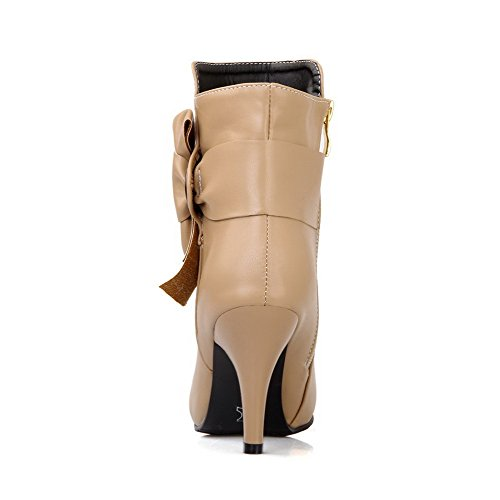 Boots Closed Material Stilettos Allhqfashion Spikes Solid Women's Apricot Toe Zipper Soft Round HIwfqxv