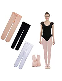 iMucci 3 Pairs Ballet Dance Tights - Velet Full Footed Ballerina Dancing Stockings