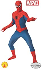 Sling some webs and save the day as everyone's favorite neighborhood Spider-Man in this officially licensed 2nd Skin costume. Classic blue and red full-body jumpsuit with black-web printed design and black spider logo on front, matching red g...