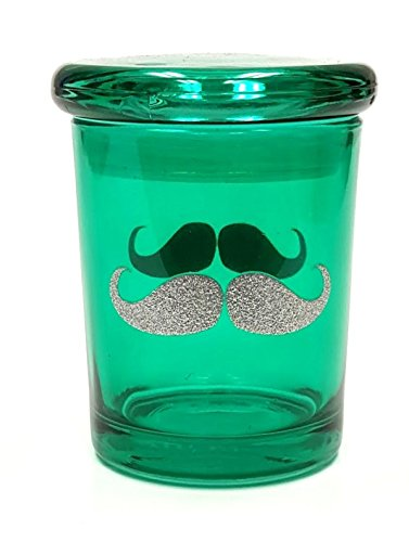 Silver Mustache Pop Top Jar Glass Medical Herb Storage Container Keeps Herbs Fresh for Months(6oz Jar)
