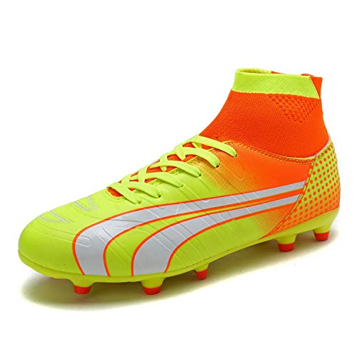 DREAM PAIRS Men's 160862-M Orange Lt.Yellow White Cleats Football Soccer Shoes - 10 M US ()