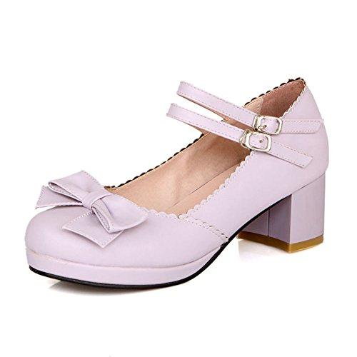 Lucksender Femmes Bout Rond Mi-talon Mary Jane Chaussures Avec Mignon Bowknot Violet