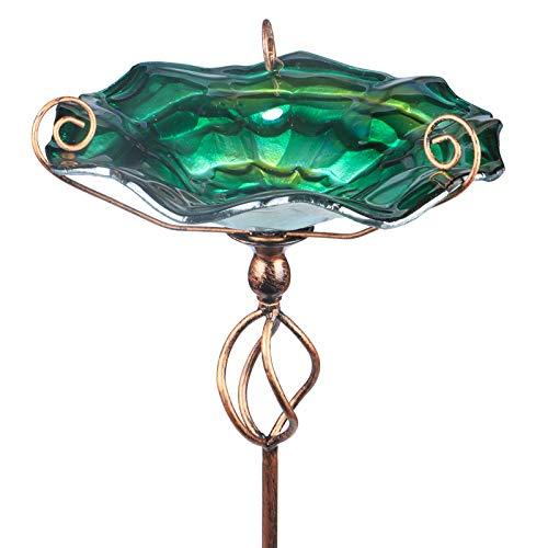 Comedero Mumtop Para Pajaros De Cristal Verde + Estaca 78cm