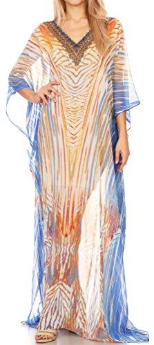 70d98263fa Sakkas P4 - LongKaftan Wilder Printed Design Long Semi Sheer Caftan Dress Cover  up -