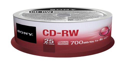 Price comparison product image Sony 25CRW80SPM CD-RW 4X 700MB Spindle Rewritable CD, 25-Pack