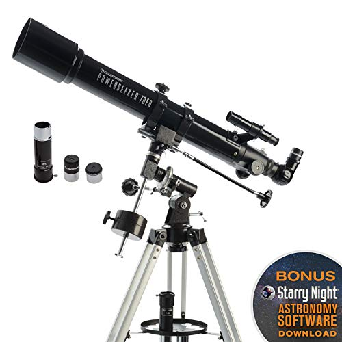 Celestron - PowerSeeker 70EQ Telescope - Manual German Equatorial Telescope for Beginners - Compact and Portable - BONUS Astronomy Software Package - 70mm Aperture