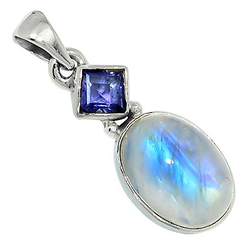 - Xtremegems Moonstone & Iolite 925 Sterling Silver Pendant Jewelry 1 1/8