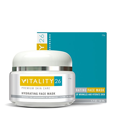 Vitality26 Hydrating Face Mask – Brightening Face Mask for Wrinkles Fine Lines with Clay, Marine Collagen, Elastin Avocado Oil More – Effective Rosacea Treatment For Face