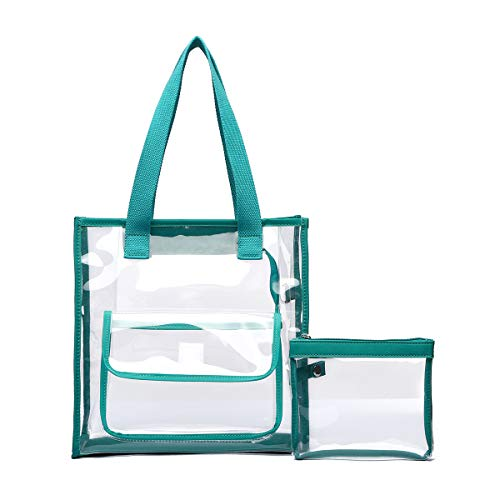 Vinyl Combo Pouch - Clear Bag Set Tote and Pouch Combo - 12
