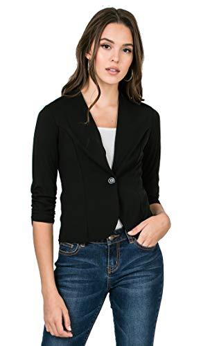 - Bubble B Women's Plus Size Floral Print Blazer Button Front Jacket Black Solid M