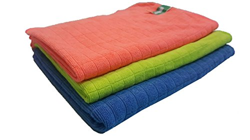 EXTRA LARGE – Ultra Soft Microfiber Cloths (SET OF 2 + 1 Bonus) Cleaning Washing & Drying Floor Squeegee, Window, Car, Home Office STREAK FREE, LINT FREE, HIGH ABSORBENT, High Performance, Reusable
