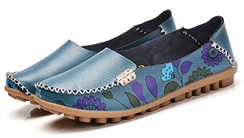De Confortable Chaussures Chaussures Conduite Fleur Mocassins Femmes Bleues De Plat Augure Bon Enceintes Imprimé Début txqZ0Swn