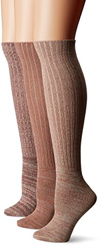 Muk Luks Women's 3 Pair Pack Marl Knee High Socks, Multi, One Size