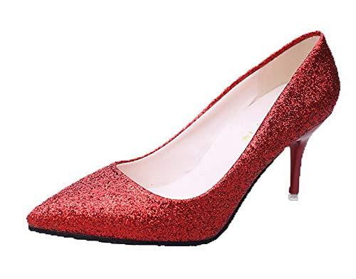 Tirare Tessuto Lucido Puro AllhqFashion Ballet Punta Flats A Donna Scarpe Rosso FBUIDC011022 qwCx0EtE45